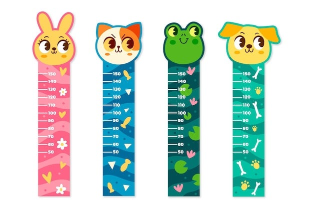 Zilustrowano zbiór ręcznie rysowane miernik wzrostu dla dzieci