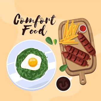 Zilustrowany design kolekcji żywności komfortowej