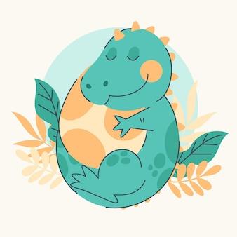 Zilustrowany ekologiczny płaski uroczy dinozaur dla dzieci