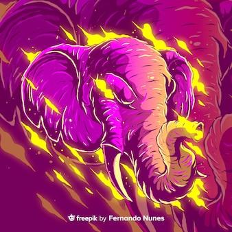 Zilustrowany kolorowy abstrakcyjny słoń