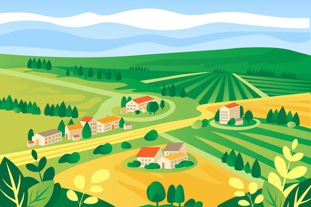 Zilustrowany kolorowy krajobraz wsi