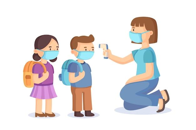 Zilustrowany nauczyciel sprawdzający temperaturę dzieci