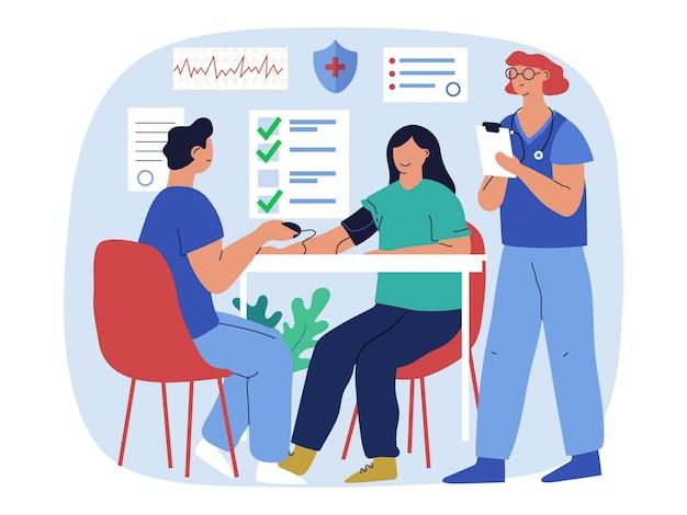 Zilustrowany pacjent podczas badania lekarskiego