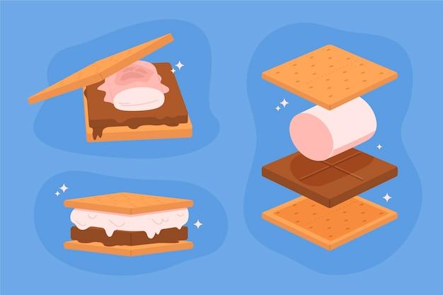 Zilustrowany płaski deser s'mores