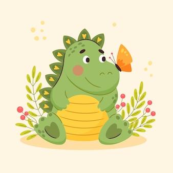 Zilustrowany płaski dinozaur dla dzieci