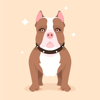 Zilustrowany płaski pitbull