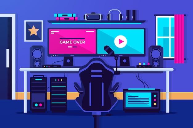Zilustrowany płaski pokój dla graczy