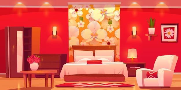 Zilustrowany płaski pokój hotelowy