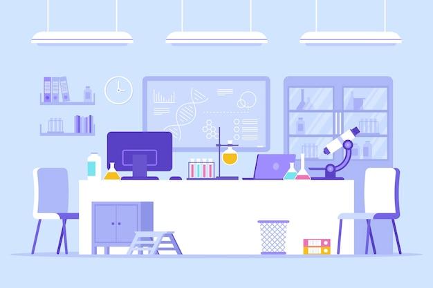 Zilustrowany płaski pokój laboratoryjny