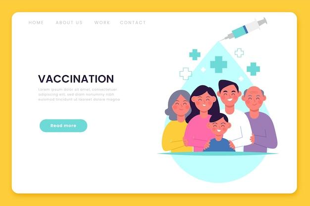 Zilustrowany płaski, ręcznie rysowane szablon sieci web szczepionki koronawirusa