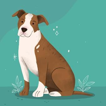 Zilustrowany ręcznie rysowane pitbull