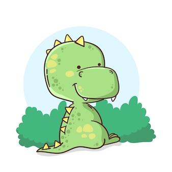 Zilustrowany ręcznie rysowane urocze dziecko dinozaura