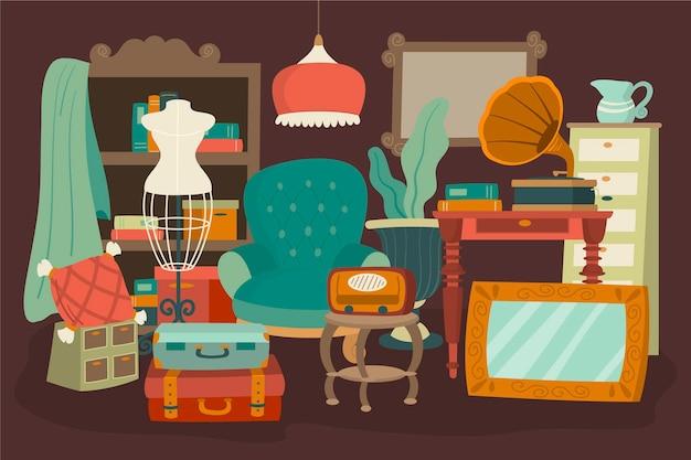 Zilustrowany rynek zabytkowych przedmiotów