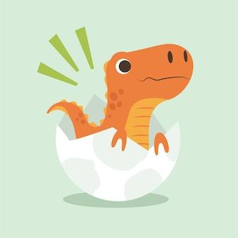 Zilustrowany rysowany mały dinozaur