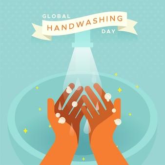 Zilustrowany światowy dzień mycia rąk