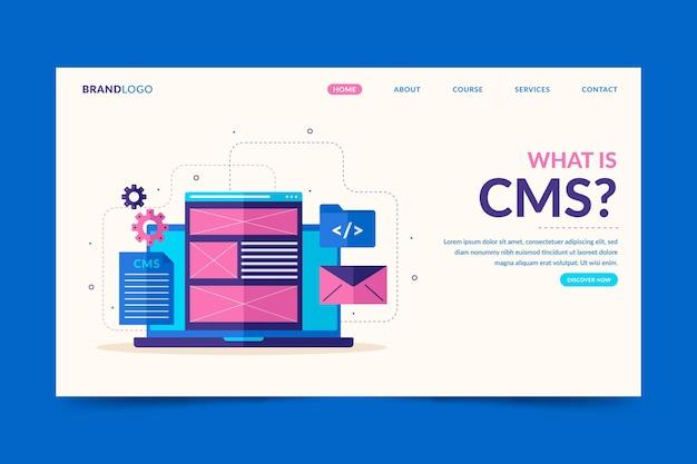 Zilustrowany szablon sieci web koncepcji cms