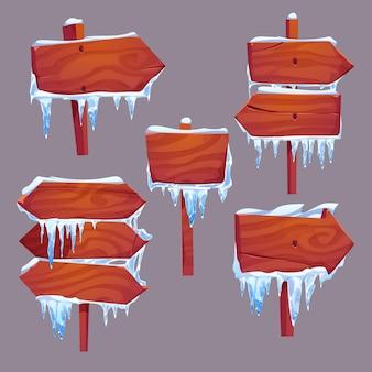Zilustrowany zestaw drewnianych znaków kierunkowych