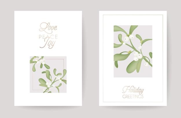 Zima boże narodzenie kwiatowy jemioła kartkę z życzeniami. retro tło, szablon projektu do świętowania sezonu wakacyjnego z broszurą z różowego złota ozdoba nowy rok w wektorze