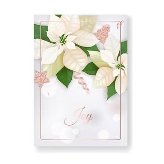Zima boże narodzenie kwiaty kartkę z życzeniami. kwiatowy poinsettia retro tło, szablon projektu do świętowania sezonu wakacyjnego z różowego złota glitter star, noworoczna broszura w wektorze