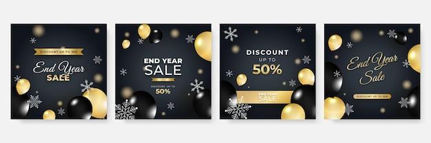 Zima boże narodzenie nowy rok i koniec roku sprzedaż kwadratowy szablon dla mediów społecznościowych. uniwersalna świąteczna kartka zimowa ze śniegiem, balonem, prezentem, drzewem, górą, gwiazdą i płatkiem śniegu, brokatem i bałwanem.