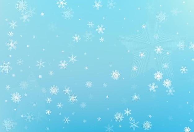 Zima boże narodzenie śnieżynka tło. spadający wektor srebrny płatek śniegu