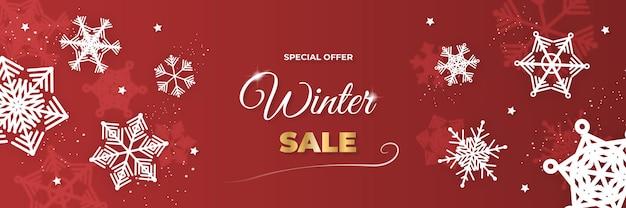 Zima boże narodzenie sprzedaż transparent z płatka śniegu, palmy i chmury na czerwonym tle. ilustracja wektorowa