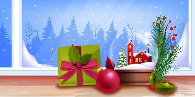 Zima boże narodzenie tło z kryształową śnieżną kulą, pudełko, gałąź jodły, okno, mały domek. świąteczny baner z konturem lasu, szklana kula, liście ostrokrzewu. karta świąteczna z kryształową kulą