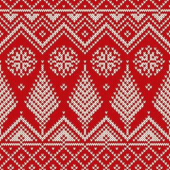 Zima boże narodzenie w stylu skandynawskim bez szwu z dzianiny wzór