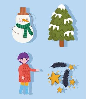 Zima, ciepłe ubrania chłopca, bałwan śnieg ikony ustawiają kreskówki