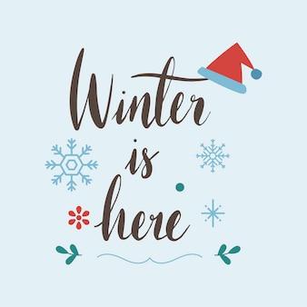 Zima jest tutaj powitanie wektor znaczek