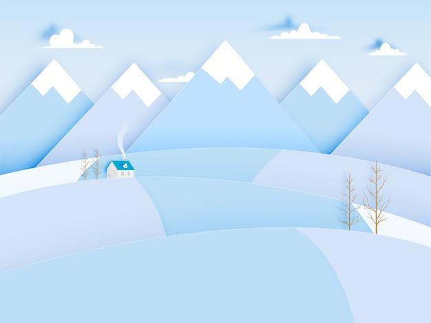 Zima krajobraz z papierowym sztuka stylem i pastelowego koloru planu wektoru ilustracją