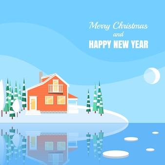 Zima krajobraz z sproszkowanym domem, drzewa, świerczyny na śnieżystej ziemi na jeziorze.