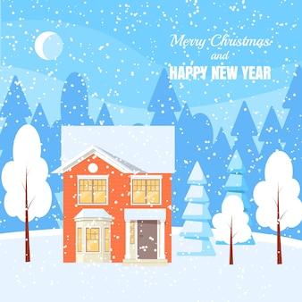 Zima krajobraz z sproszkowanym domem, drzewami i świerczynami w lesie na śnieżystej ziemi.