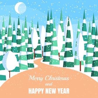 Zima krajobraz z sproszkowanymi drzewami i świerczynami w lesie na śnieżystej ziemi.
