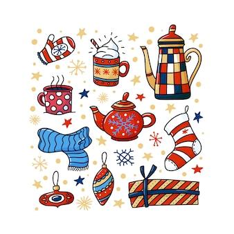 Zima, kwadratowy baner chrismas z zabawnymi doodlami