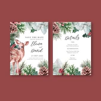 Zima kwiatowy kwitnący elegancka karta zaproszenie na ślub do dekoracji rocznika piękne
