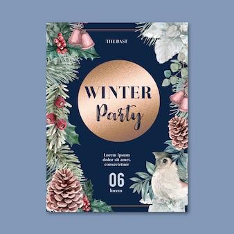 Zima kwiatowy kwitnący plakat, pocztówka elegancki do dekoracji rocznika piękne