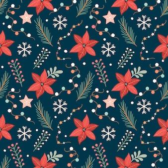 Zima kwiatowy wzór poinsecja gałęzie sosny rośliny sezonowe