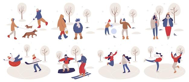 Zimą ludzie spędzają czas na świeżym powietrzu. ludzie w ciepłych ubraniach wykonujący zimowe zajęcia. aktywność zimowa z rodziną. sezon zimowy, jazda na łyżwach na lodowisku i lepienie bałwana, narty. ilustracja