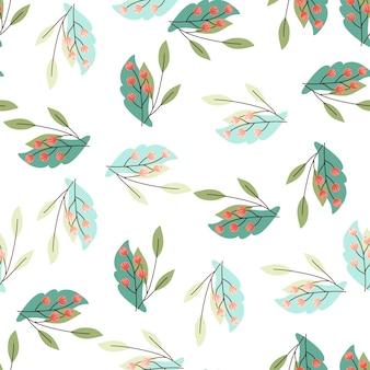 Zima na białym tle wzór z niebieskimi i turkusowymi liśćmi i kształtami czerwonych jagód