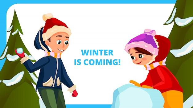 Zima nadchodzi banner cartoon children outside