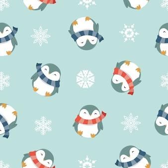 Zima pingwiny bezszwowy wzór