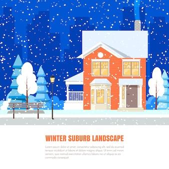 Zima przedmieścia krajobraz z sproszkowanym domem, drzewa na śnieżystym ziemi i miasta backgro