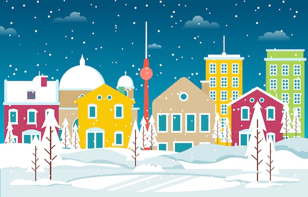 Zima śnieg w berlin miasta pejzażu miejskiego linii horyzontu punktu zwrotnego budynku ilustraci