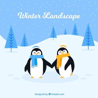 Zima śnieżny krajobrazowy tło