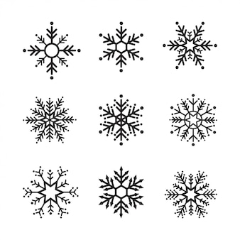 Zima śnieżynka zestaw czarno na białym tle dziewięć ikona designu