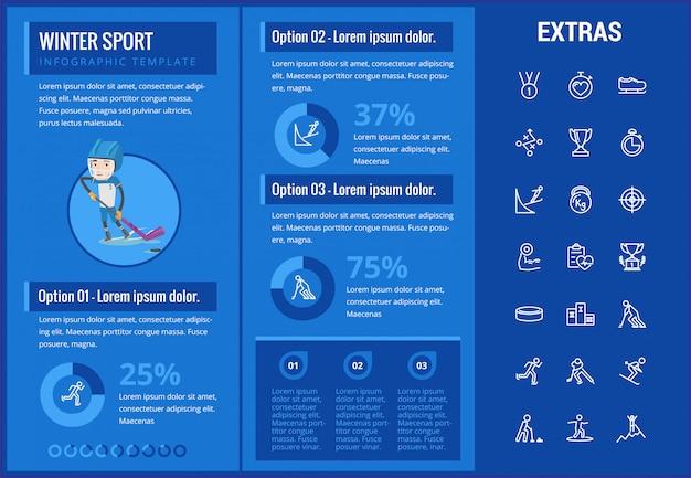 Zima sporta infographic szablon, elementy, ikony