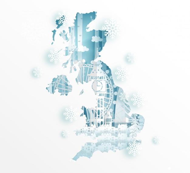 Zima w anglii z koncepcją mapy do podróży i turystyki reklamowej koncepcji