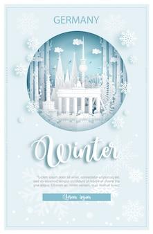 Zima w niemczech dla koncepcji reklamowej podróży i wycieczek