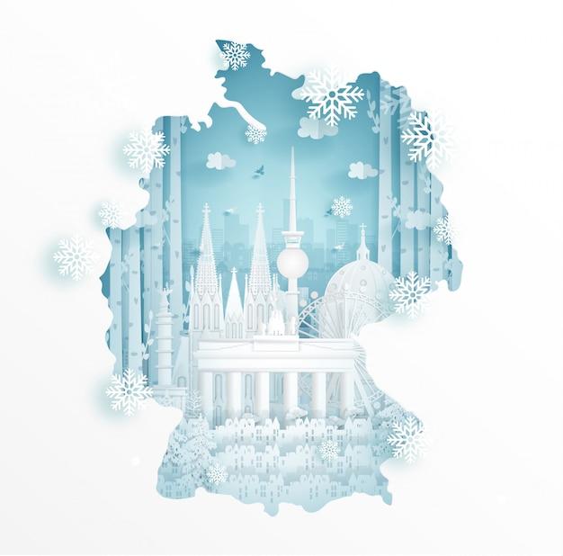 Zima w niemczech z koncepcją mapy do podróży i turystyki reklamowej koncepcji
